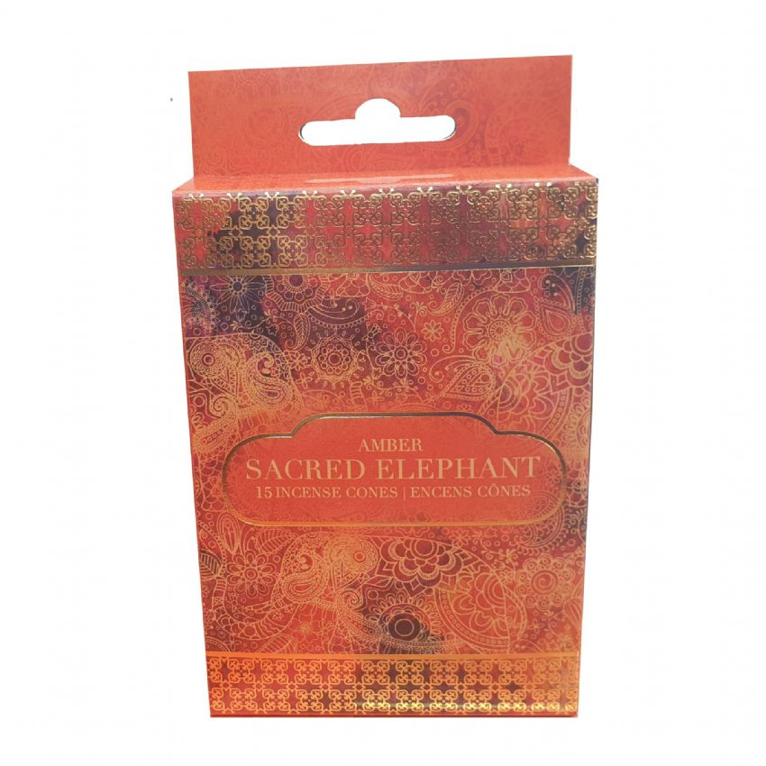 Sacred Elephant Amber Scented Indian Incense Cones Sifcon (Pack of 15)